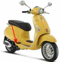 Cover plate duo-footrest Vespa Sprint yellow 968 a on the right Piaggio original 67362700l5