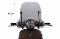 Windscreen + fixation set low Vespa Primavera 43cm smoke Malossi 4516332