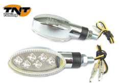 Knipperlichtset 6Led gehomologeerd Oblong chroom ce