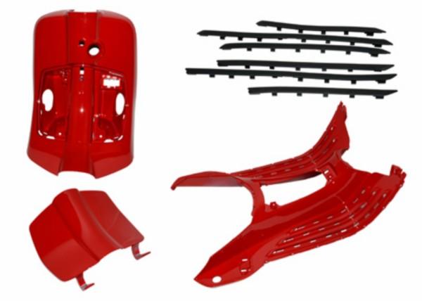 Kappenset kunststof Vespa Primavera rood dragon 894 Piaggio origineel r7 4-delig