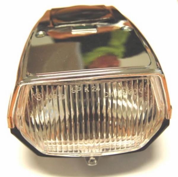 Koplamp vierkant plat Puch Maxi zwart chroom DMP