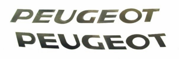 Sticker Peugeot woord [peugeot] zwart 2-delig