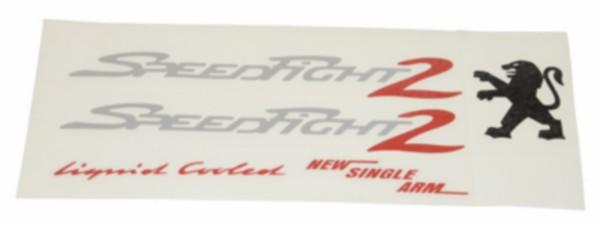 stickerset Peugeot Speedfight 2 zilver/ rood 5 delig