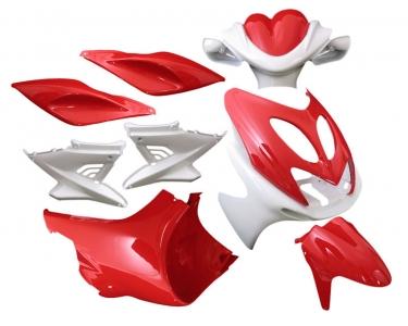 plaatwerkset yamaha aerox 10-delig rood/wit