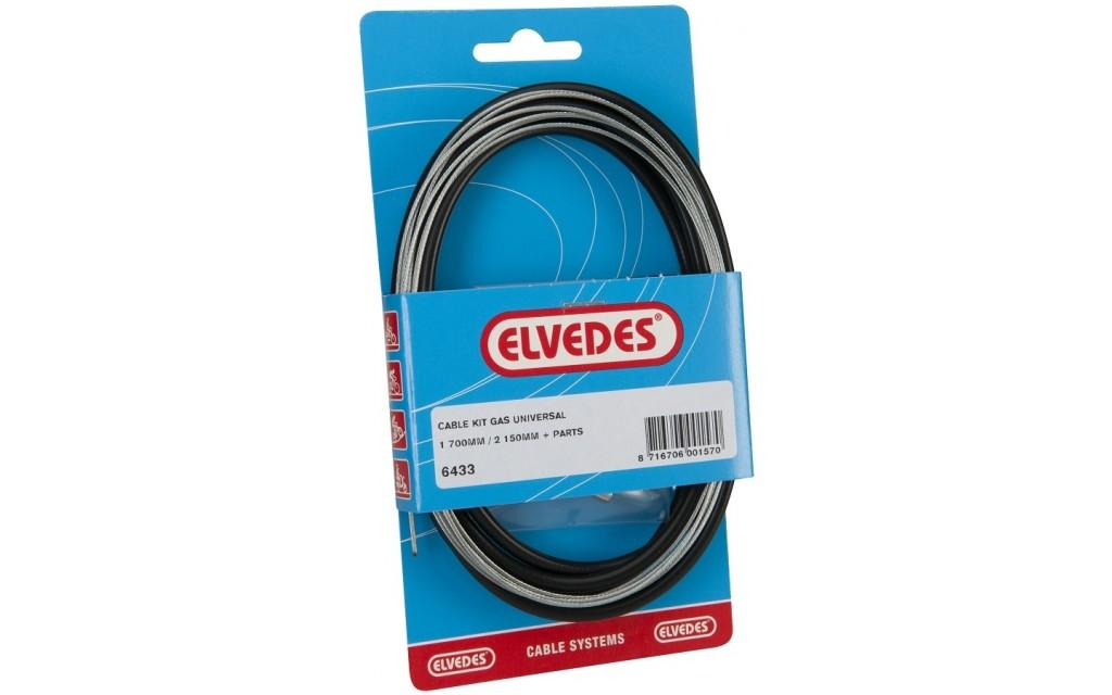 Elvedes universele gas kabelkit 1700mm / 2250mm extra flexibel - zwart