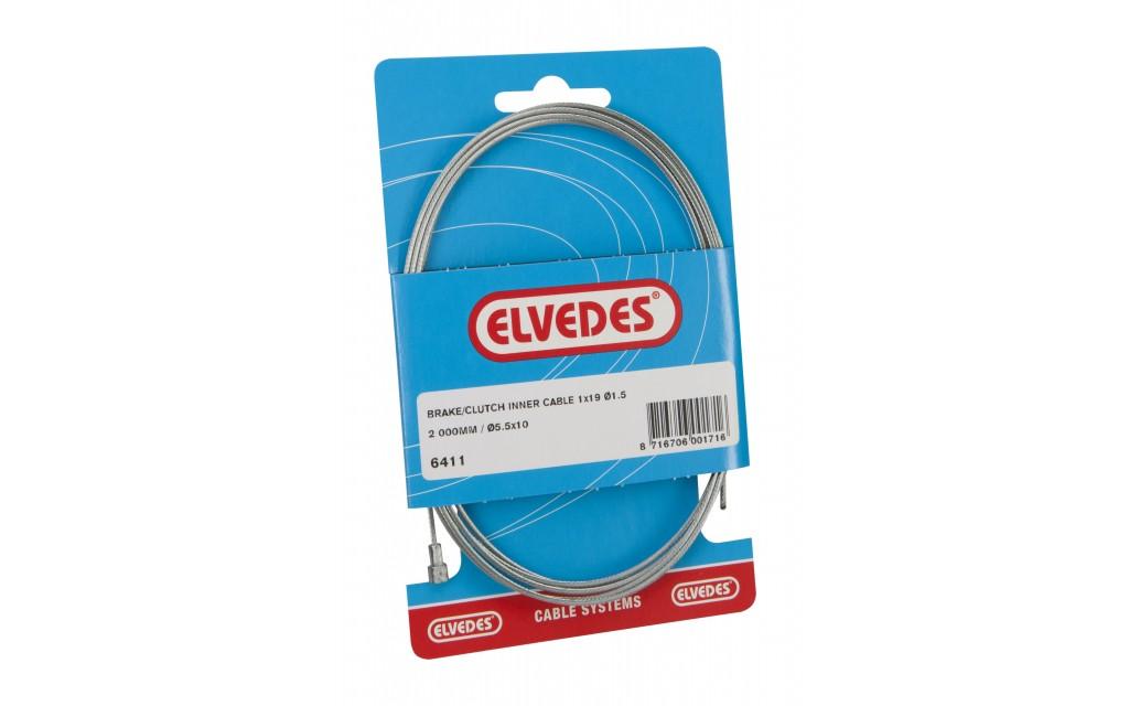 Koppeling binnenkabel Elvedes 2000mm 1×19 draads verzinkt Ø1,5mm met V-nippel (op kaart)