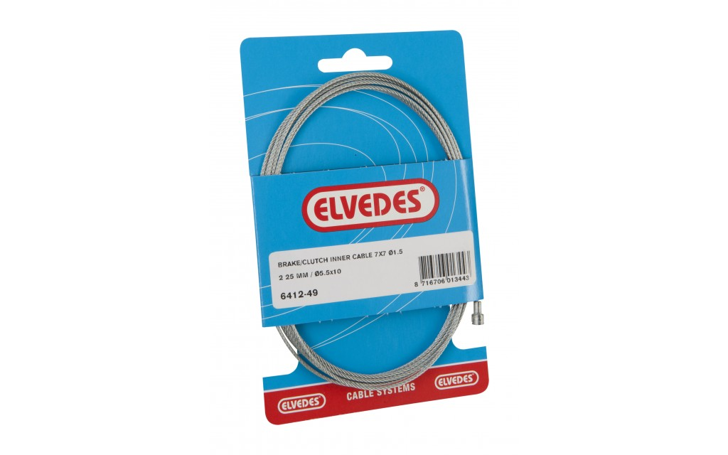 Elvedes clutch binnenkabel 2250mm 7x7 draads Galvanised Ø1,5mm with V-nippel