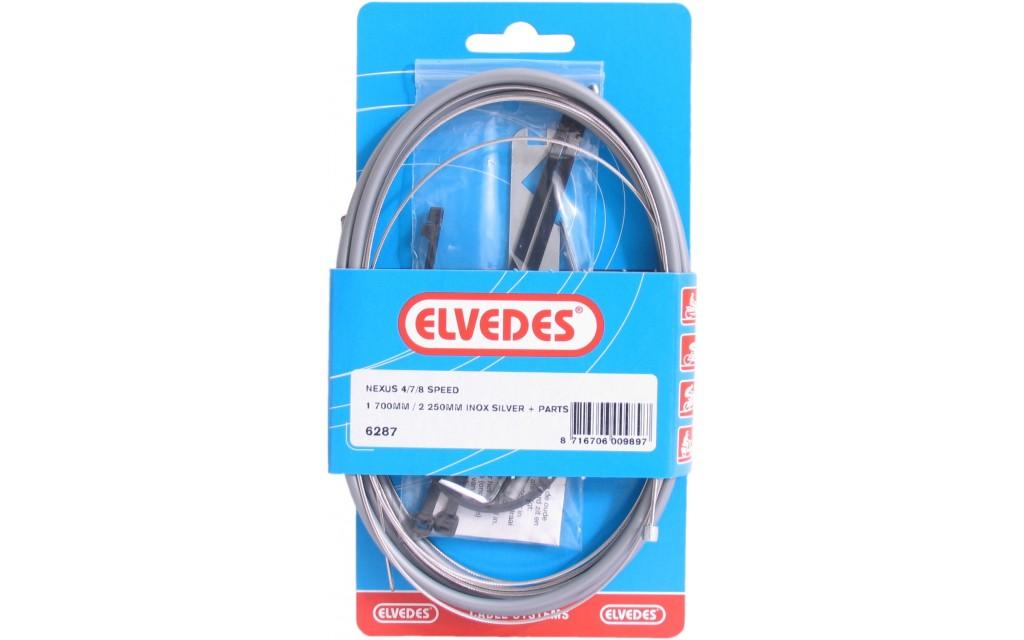 Elvedes Versnellingskabelset Nexus 4/7/8V 1700 / 2250 mm RVS - zilver