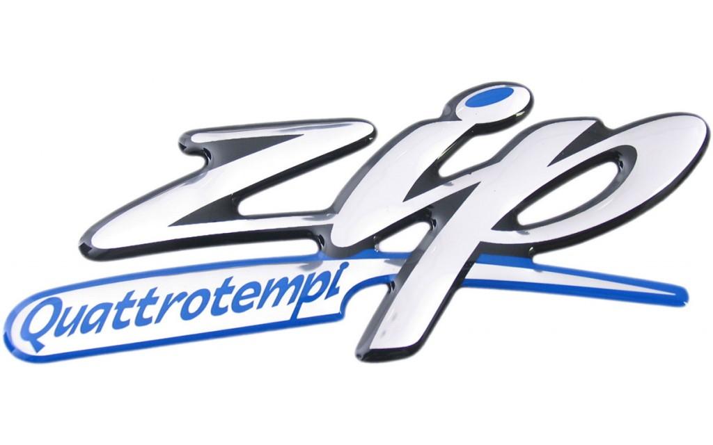 sticker piaggio woord [zip quattro] zijscherm zip2006 4t 3d zwart/ chroom