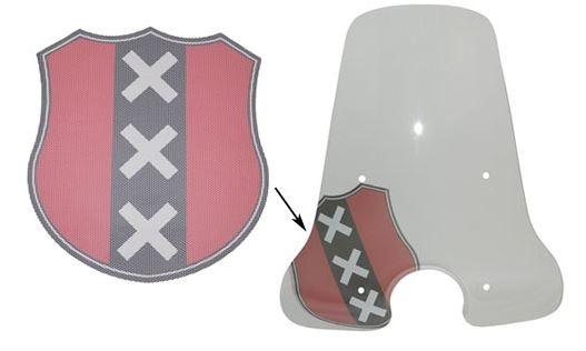 Sticker wapen amsterdam rood/zwart